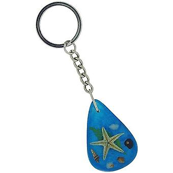 Olivia Collection Nautical Underwater Life Key Ring med EKTE sjøstjerner på blå bakgrunn