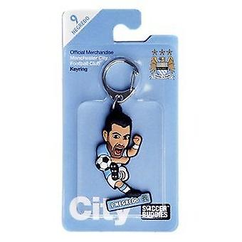 Manchester City Official Licensed Soccer Buddies Football Keyring-Álvaro Negredo