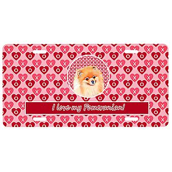 Carolines Treasures  LH9170LP Pomeranian Valentine's Love and Hearts License Pla