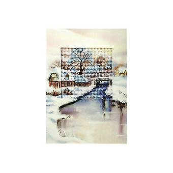 Orchidea Printed Cross Stitch Card Kit - Bridge Over Icy Water