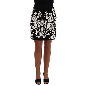 Dolce Gabbana черный кристалл цветочные карандаш юбка--SKI1936112 &