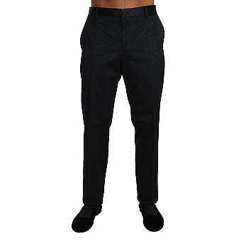 Dolce & Gabbana schwarz Baumwolle Brokat formalhose Hose -- BYX1002864