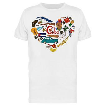 Cubaanse symbolen Heart Tee Men's -Afbeelding door Shutterstock