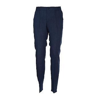 Etro 1w64712200200 Men's Blue Linen Pants