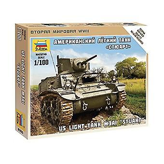 """Zvezda 1/100 oss ljus Tank M3A1 """"Stuart"""" # 6265 - plast modell Kit"""