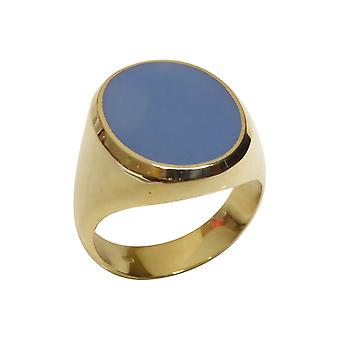 Yellow gold layer stone cachet ring