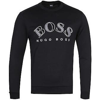 BOSS Salbo Large White Logo Black Sweatshirt