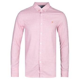Farah Kreo Long Sleeve Textured Slim Fit Cool Pink Shirt