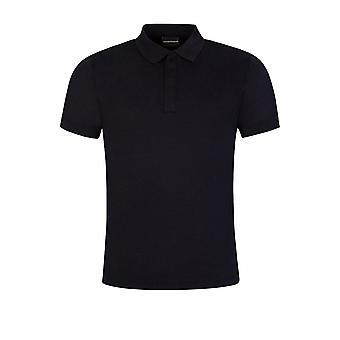 Emporio Armani Cotton Zip Up Navy Polo Shirt
