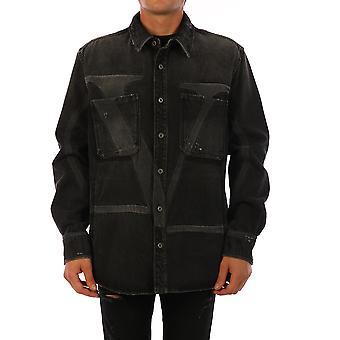 Valentino Uv3db00g6h40no Männer's schwarze Baumwolle Shirt