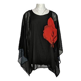 Masseys Women's Sweater Floral Chiffon Poncho Zwart/Rood