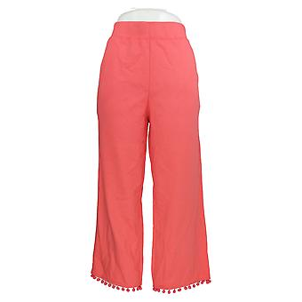 Belle by Kim Gravel Women's Pants French Terry Cropped Pink A351258