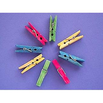 24 Midi Coloured 4.5cm Wooden Pegs | Wooden Shapes for Crafts