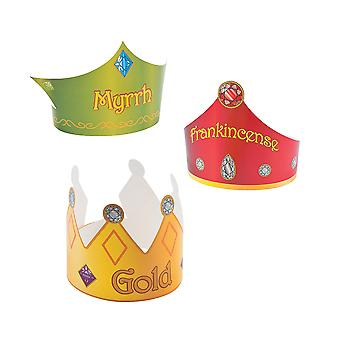 3 Three Kings Gift Crowns for Kids Nativity Dress Up