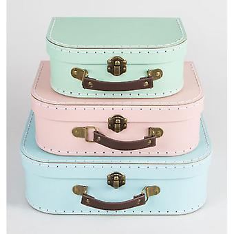 Pastel Retro Mini Suitcases x 3 - Wedding / Home Decoration Pink Green Blue