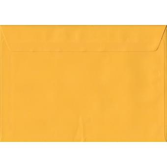 Golden Yellow Peel/Seal C6/A6 Coloured Yellow Envelopes. 100gsm FSC Sustainable Paper. 114mm x 162mm. Wallet Style Envelope.
