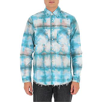 Amiri F0m06189pdbl Men's Lichtblauw/wit Katoenen Shirt