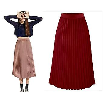 Donne&apos Estate Pleated Chiffon Elastic Waist Double Layer Long Layer Gonna