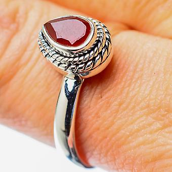 Red Onyx Ring Size 9 (925 Sterling Silver)  - Handmade Boho Vintage Jewelry RING25843