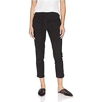 Brand - Daily Ritual Women's Washed Poplin Patch-Pocket Pant, Dark Grey, 2