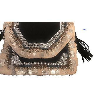 Black Cotton canvas  Embroidered Tote Bag Purses Handbags- Edinia