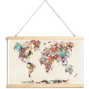 JUNIQE Print - World Map Aquarel - World Maps Poster in Brown & Colorful