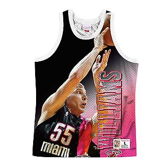 Mitchell & Ness Nba Miami Heat Jason Williams MSTKMAI19002MHEWHITJWI basket-ball toute l'année hommes t-shirt