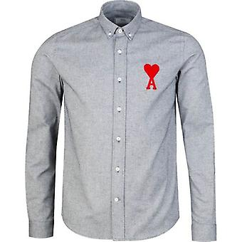 Ami Big Heart Logo Oxford Long Sleeved Shirt