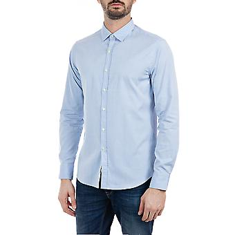 Replay Men's Solid-Coloured Cotton Shirt Blue
