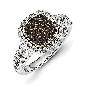 925 Sterling Silver With 14k and Black Rhodium Smokey Quartz Ring Jewelry Gifts for Women - Ring Size: 6 to 8