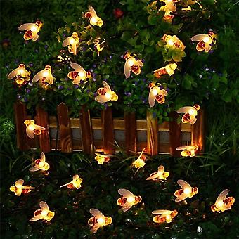 Solar Powered Cute Honey Bee, Led Fairy Light For Outdoor Garden, Fence Patio,