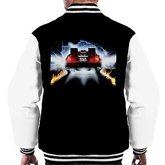 Back to the Future Delorean Taking Off For Time Travel Men's Varsity Jacket