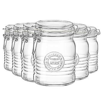 Bormioli Rocco Officina 1825 Glass Storage Jar with Airtight Clip Lid - 750ml - Pack of 6