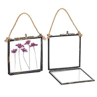 Nicola Spring Hanging Glass Vintage Photo Frame With Rope - 4x4 Photos - Pack of 2