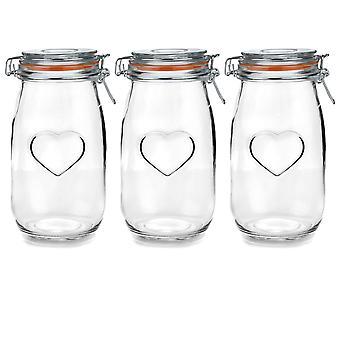 Nicola Spring Heart Glass -säilytyspurkit ilmatiiviillä clip-kannella - 1,5L-setti - Oranssi tiiviste - Pakkaus 3