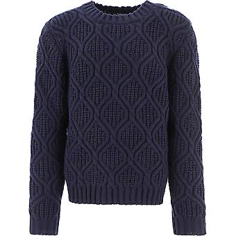 Balmain Uh03668k0326ub Men's Blue Wool Sweater