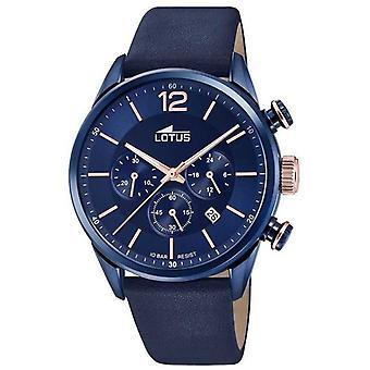 Sangle en cuir bleu Lotus Men's | Cadran chronographe bleu L18681/2 Montre
