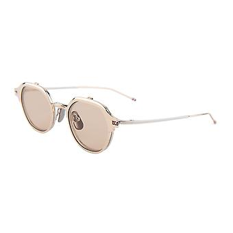 Thom Browne TBS812 01 White Gold-Silver/Light Brown Sunglasses