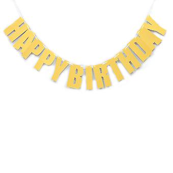 YANGFAN Happy Birthday Bunting Banner with Shiny Gold Letters Party Supplies