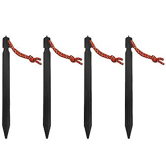 4Pieces Aluminum Outdoors Tent Stakes Pegs with Rope loop Black