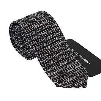 Dolce & Gabbana musta DG kuvio klassinen ohut solmio lisävaruste laatta