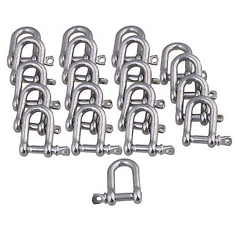 20 Pieces 26x22mm Silver 304 Stainless Steel M4 D Shackle Rigging Tool