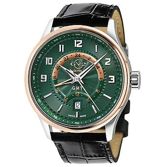 GV2 Men's Giromondo Green Dial Black Calfskin Leather Watch