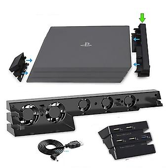 2 In 1 Pro Console Cooler Cooling Fan + 5 External Usb Hub For Sony Ps4