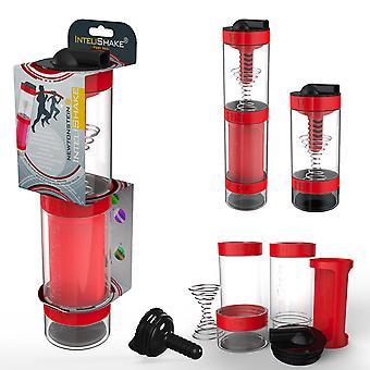 Intelishake Fiery Red - Shaker Bottle Wielokomorowy protein/trening/sok z filtrem węglowym wody do ćwiczeń sportowych i siłowni