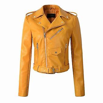 Autumn/winter Fake Faux Leather Jackets Lady Pu Zipper Pocket Motorcycle