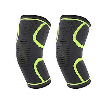 XL Tamaño Verde 27cm Nylon Latex Spandex Profesional Protector Deportes Rodilleras