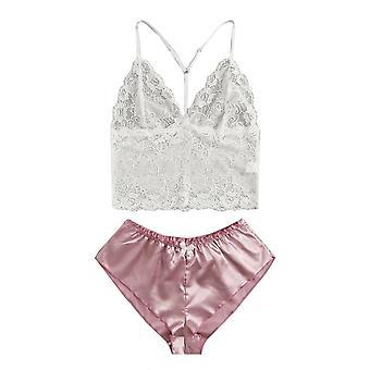 Sleep Wear Sexy Lingerie Satin Lace V-neck Camisole Shorts Set Sleeping Clothes
