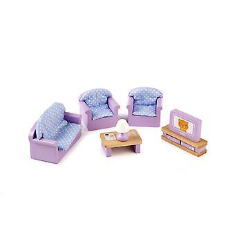 Tidlo boneca de madeira'conjunto de móveis da sala de estar da casa