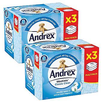 8 x låda Andrex torkar klassisk ren bomull färsk fuktig flashbar toalettvävnad